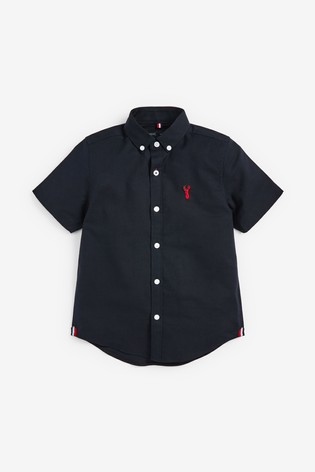 Navy Short Sleeve Oxford Shirt (3-16yrs)