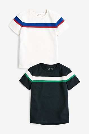 Multi 2 Pack Short Sleeve Chest Stripe T-Shirts (3-16yrs)