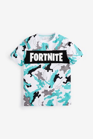 White Fortnite Camouflage T-Shirt (10-16yrs)