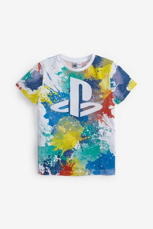 White PlayStation™ Splat T-Shirt (3-16yrs)