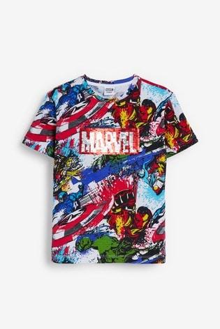 White Marvel® All Over Print Sequin Change T-Shirt (3-16yrs)
