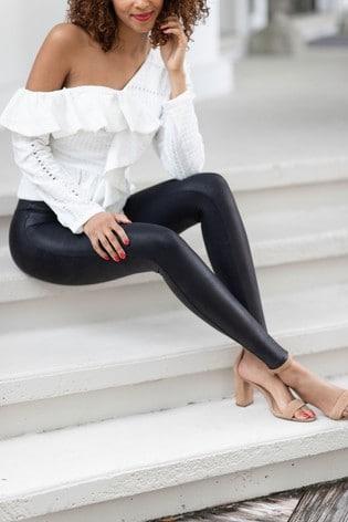 SPANX® Medium Control Black Faux Leather Structured Leggings