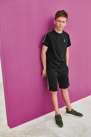 Black Side Tape Shorts (3-16yrs)