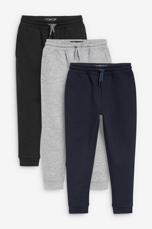 Multi Black Slim Fit 3 Pack Joggers (3-16yrs)