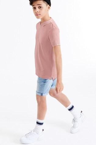 Blush Textured Zip Neck Poloshirt (3-16yrs)
