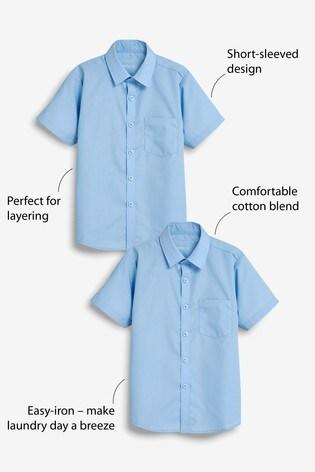 Blue 2 Pack Short Sleeve Shirts (3-17yrs)