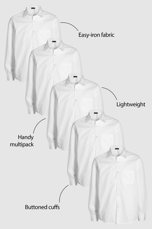 White 5 Pack Long Sleeve Shirts (3-16yrs)