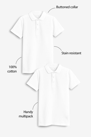 White 2 Pack Cotton Poloshirts (3-16yrs)