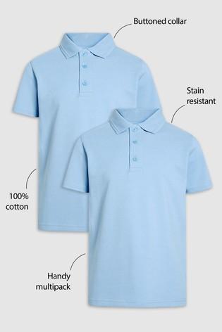 Blue 2 Pack Cotton Poloshirts (3-16yrs)