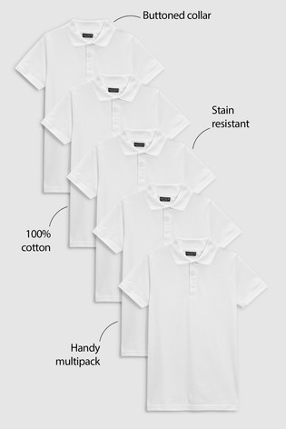White 5 Pack Cotton Poloshirts (3-16yrs)