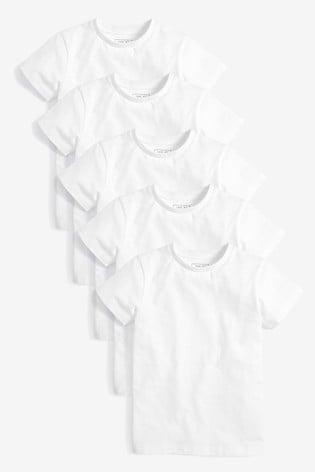 White 5 Pack Short Sleeve T-Shirts (3-16yrs)