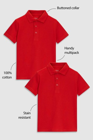 Red 2 Pack Cotton Poloshirts (3-16yrs)