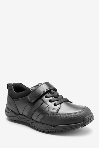 Black Wide Fit Leather Elastic Lace Shoes (Older)