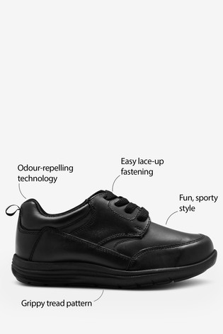 Black Standard Fit Leather Lace-Up Shoes (Older)