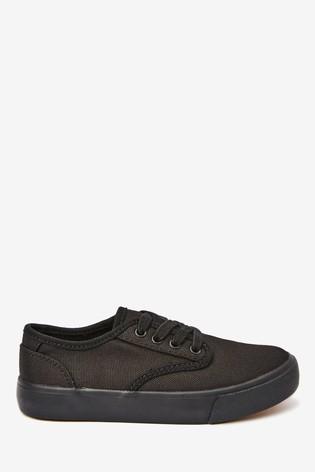 Black Canvas Lace Up Shoes (Older)