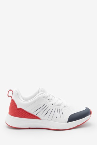 White/Blue/Red Elastic Lace Trainers (Older)