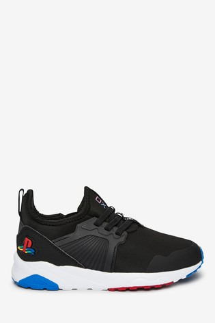 Black PlayStation™ Elastic Lace Trainers (Older)