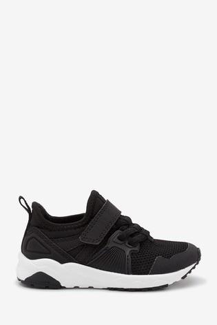Black Elastic Lace Trainers (Older)