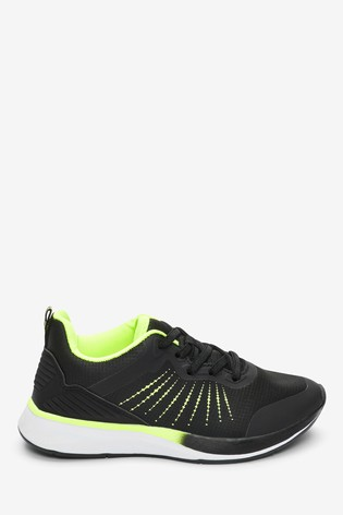 Black/Fluro Elastic Lace Trainers (Older)