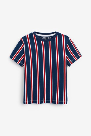 Red/Navy/White 2 Pack Vertical Stripe Short Pyjamas (3-16yrs)
