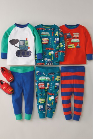Multi 3 Pack Vehicle Snuggle Pyjamas (9mths-8yrs)