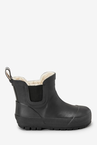 Black Warm Lined Chelsea Boot Wellies (Younger)