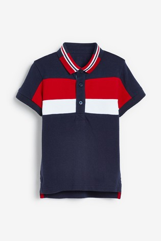 Red/Navy Short Sleeve Colourblock Poloshirt (3mths-7yrs)