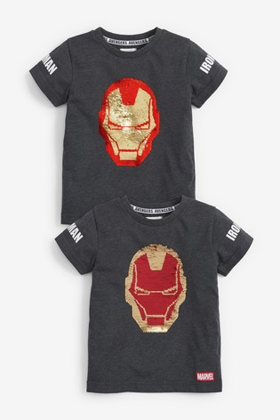 Charcoal Ironman Flippy Sequin T-Shirt (12mths-8yrs)