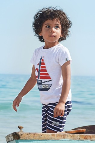 Red/White Boat Appliqué T-Shirt And Short Set (3mths-7yrs)