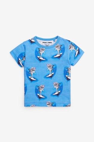 Blue Short Sleeve Shark Printed T-Shirt (3mths-7yrs)