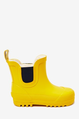 Yellow Ankle Warm Lined Wellies (Younger)