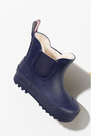 Navy Ankle Warm Lined Wellies (Younger)