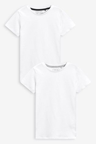 White 2 Pack Short Sleeve T-Shirts (3-16yrs)