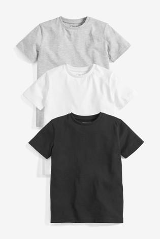 Monochrome 3 Pack Short Sleeve T-Shirts (3-16yrs)