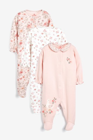 Pink 3 Pack Floral Sleepsuits (0-2yrs)