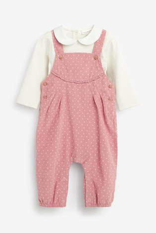 Pink Spot Cord Dungarees And Bodysuit (0mths-2yrs)