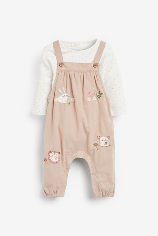 Mink Character Cord Dungarees And Bodysuit (0mths-2yrs)