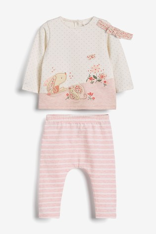 White/Pink Bunny T-Shirt, Leggings And Headband Set (0mths-3yrs)