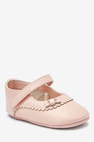 Buy Pink Leather Mary Jane Pram Shoes