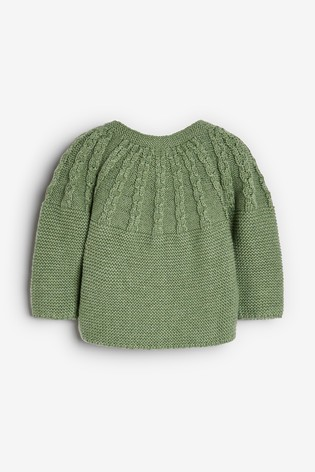 Green Cable Detailed Cardigan (0mths-2yrs)
