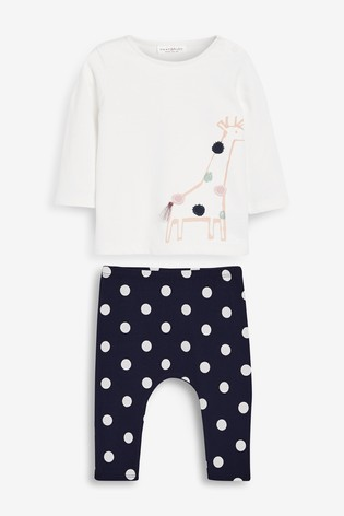 White/Navy Giraffe T-Shirt And Leggings Set (0mths-2yrs)