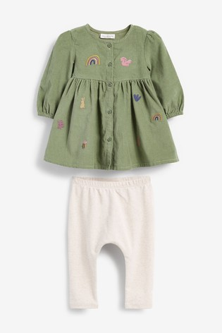 Khaki Embroidery Cord Dress And Legging Set (0mths-2yrs)