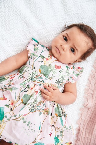 Pink Floral Prom Dress With Knickers (0mths-2yrs)