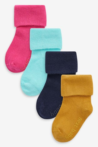 Multi 4 Pack Roll Top Socks (Younger)