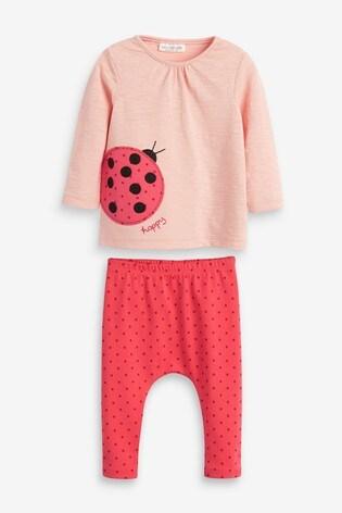 Red Ladybird T-Shirt And Leggings Set (0mths-2yrs)