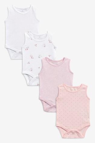 Pink/White 4 Pack Vest Bodysuits (0mths-3yrs)