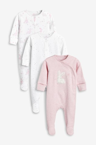 Pink 3 Pack Embroidered Bunny Character Sleepsuits (0mths-2yrs)