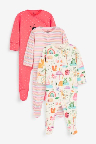 Coral 3 Pack Ladybird Stripe Sleepsuit (0mths-2yrs)