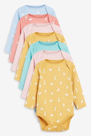 Multi 7 Pack Spot Bunny Long Sleeve Bodysuits (0mths-3yrs)