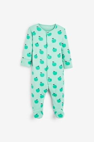 Green 3 Pack GOTS Organic Apple Rainbow Sleepsuits (0-2yrs)